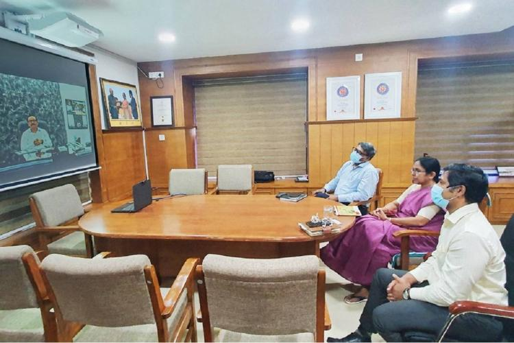 Minister Shailaja and team in video conference with Minister Tope