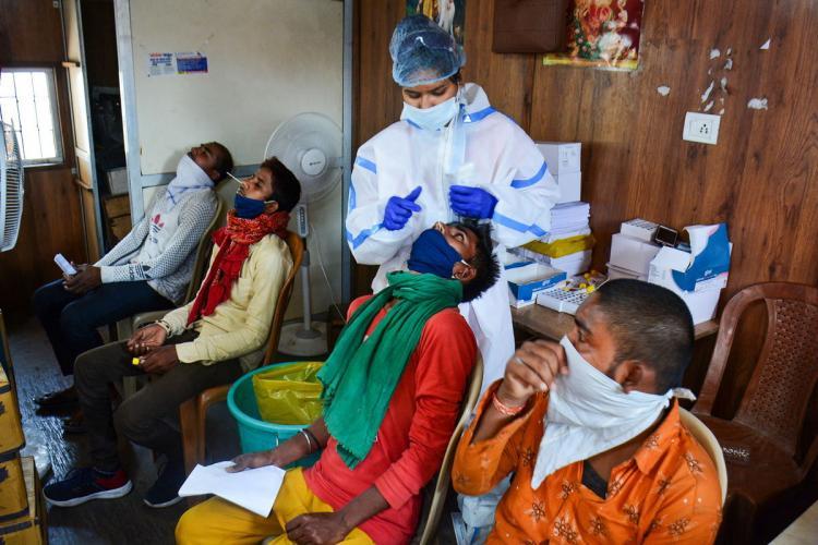 A coronavirus testing centre in Maharashtra