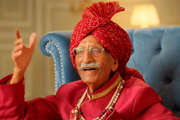 Mahashay Dharampal Gulati, founder of MDH spices, dressed in red. Dharampal Gulati passed away on December 3.
