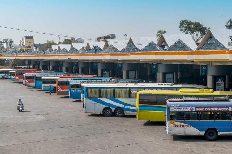 Buses lined up at MG bus station in Hyderabad