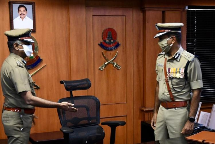 Former Chennai police commissioner AK Vishwanathan making way for incoming commissioner Mahesh Kumar Agarwal