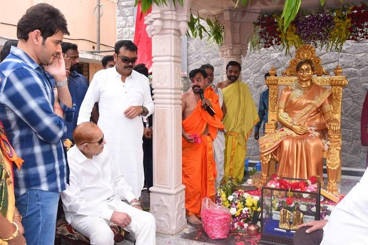 Statue of veteran Telugu actor-director Vijaya Nirmala unveiled by stepson Mahesh Babu