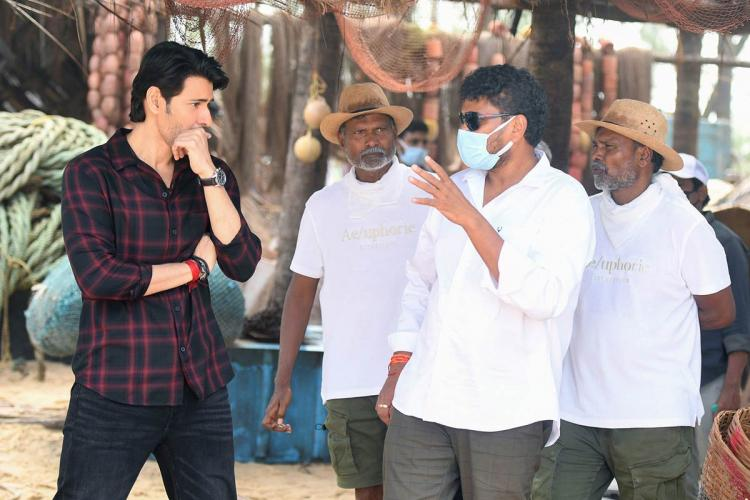 Mahesh Babu along with stunt directors and director of Sarkaru Vaari Paata