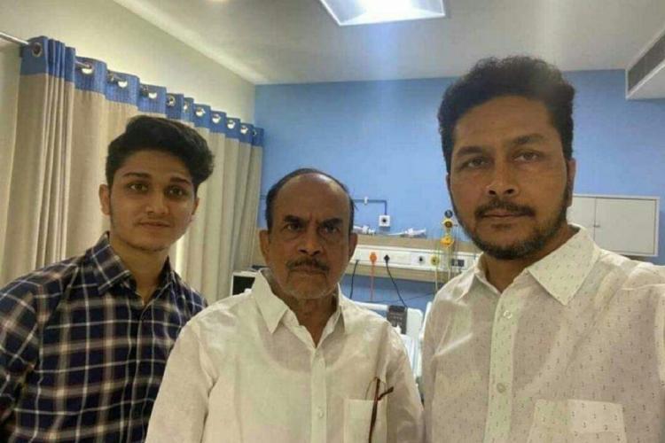 Telangana Home Minister Mahmood Ali and his family members at a hospital in Hyderabad