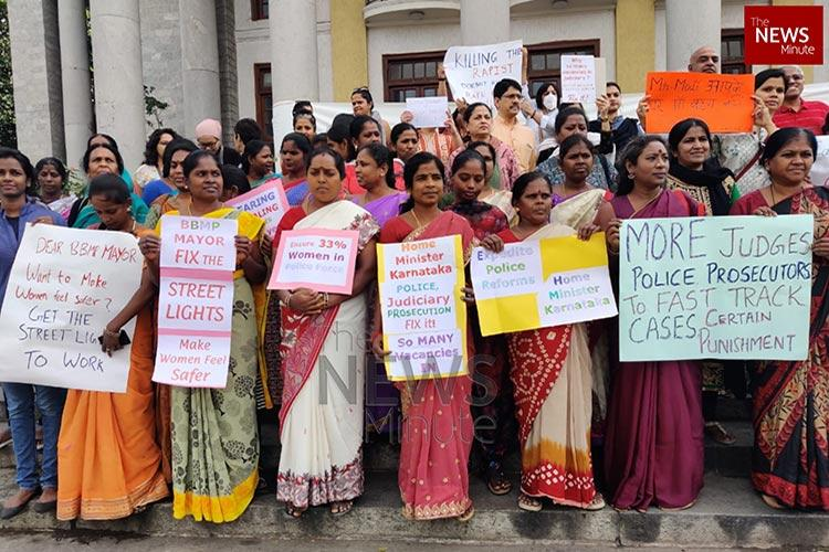 NirbhayaDishaMe Protest at Bengalurus Town Hall over crimes against women
