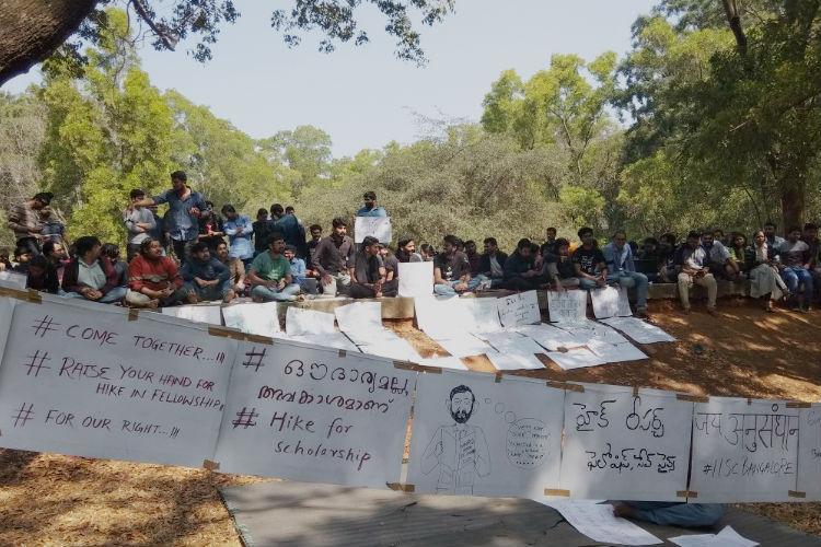 IISc students in Bengaluru hold hunger strike demand hike in fellowships