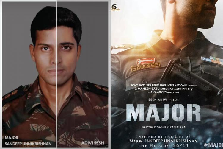 Major movie look test picture in which Adivi Shesh is seen in a collage along with Major movie poster