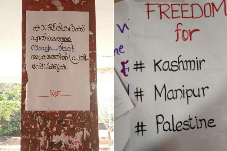Kerala college students booked for sedition for putting up posters on Kashmir issue