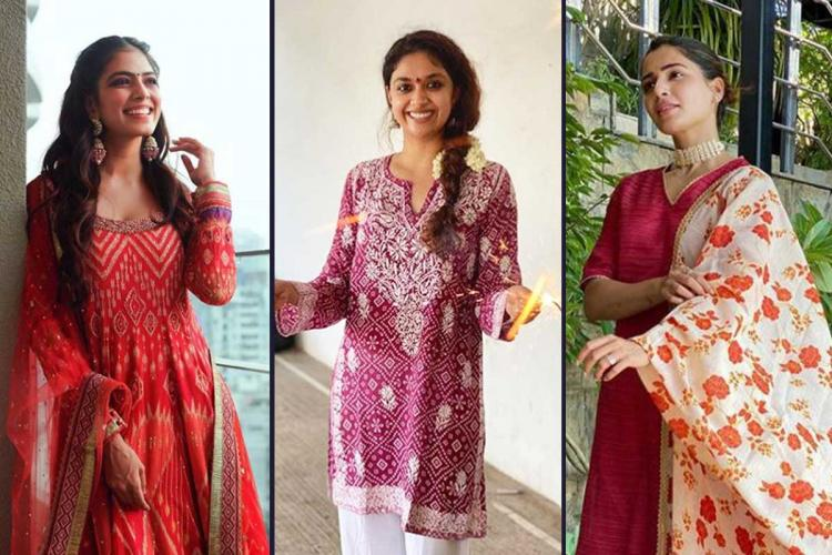 Malavika Mohanan Keerthy Suresh and Samantha Akinneni in their Diwali outfits