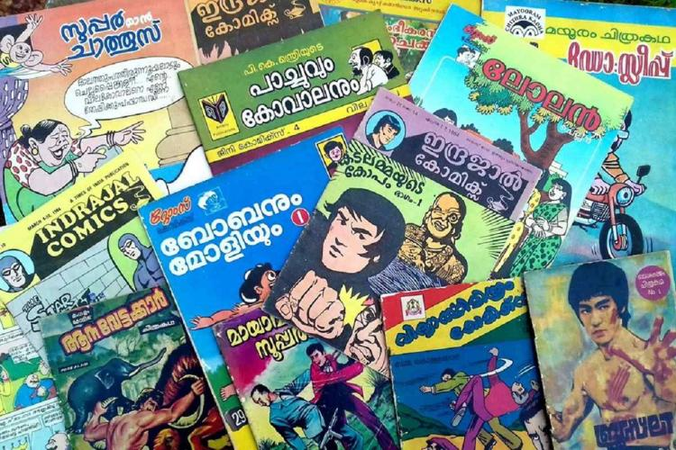 A number of old Malayalam comic books are spread out