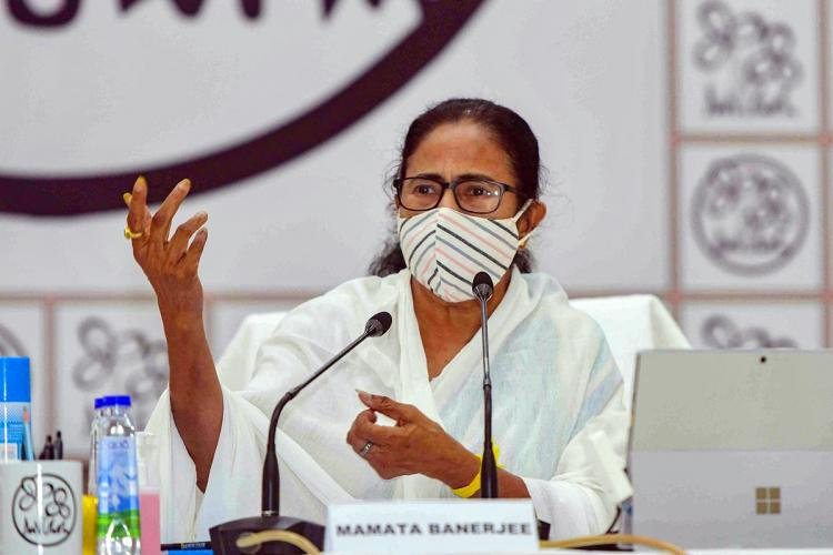 WB CM Mamata Banerjee during a video conference with party workers