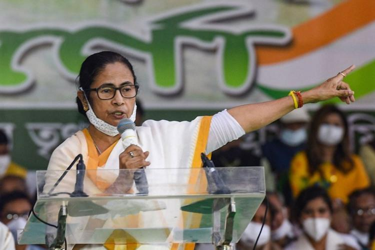 Mamata Banerjee speaking at an election rally in West Bengal in the run up to the Assembly polls