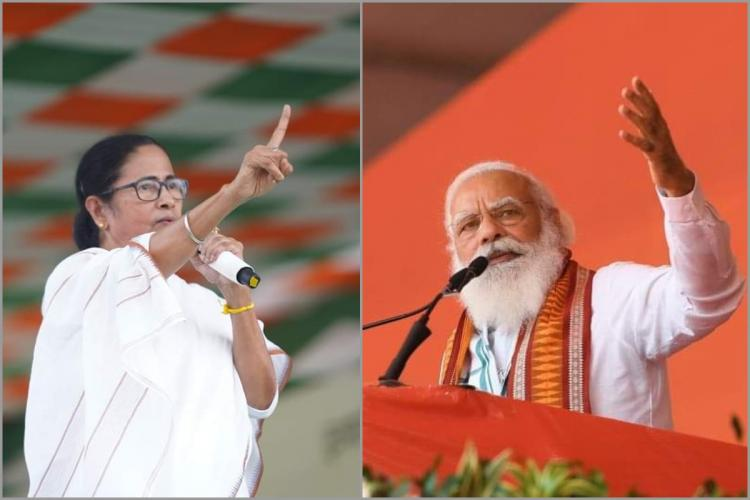 West Bengal CM Mamata Benerjee and PM Narendra Modi during their campaign