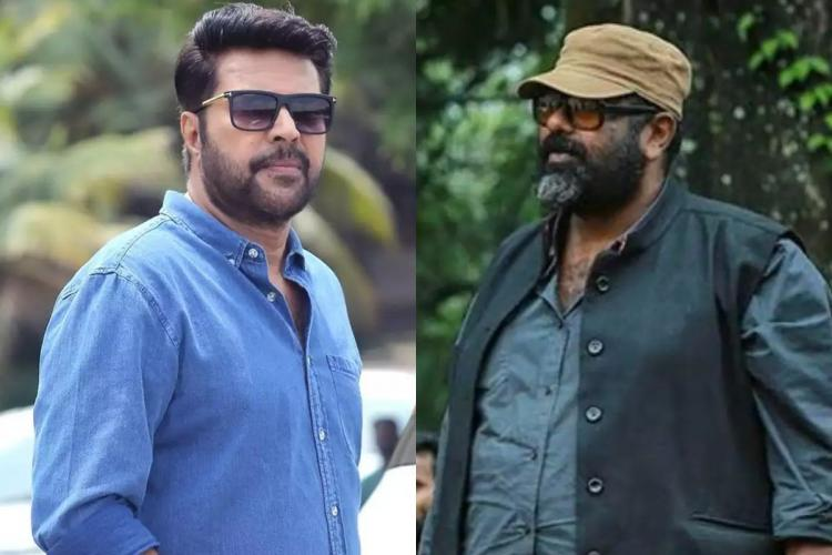 A collage with Mammootty wearing blue shirt and sun shades in the left and Amal Neerad wearing grey shirt black jacket cap and glasses on the right