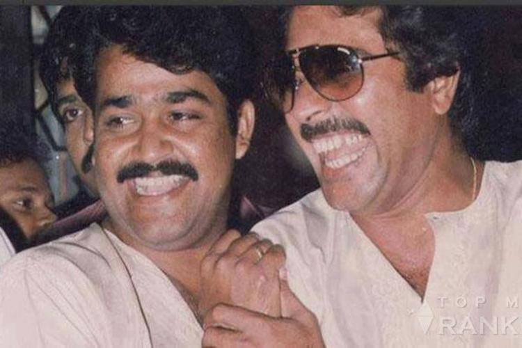 Mohanlal and Mammootty wearing white shirts and smiling in an old picture