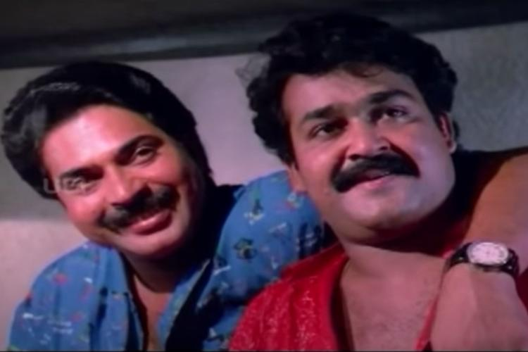 Mammootty and Mohanlal in the movie No 20 Madras Mail