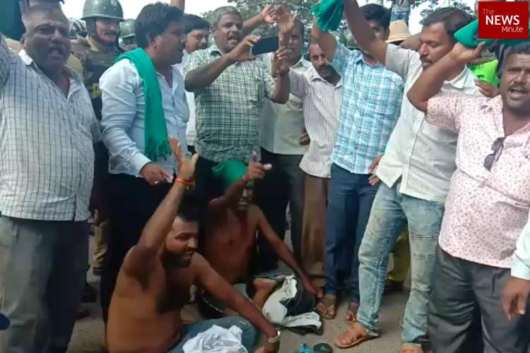 Release water for irrigation Mandya farmers protest try to lock down KRS Dam