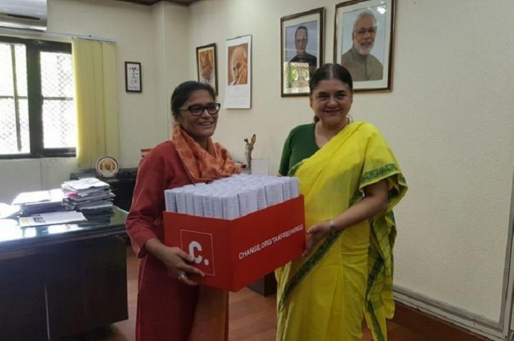 Tax free wings petition gets heard Maneka asks Jaitley to cut taxes on eco-friendly sanitary pads