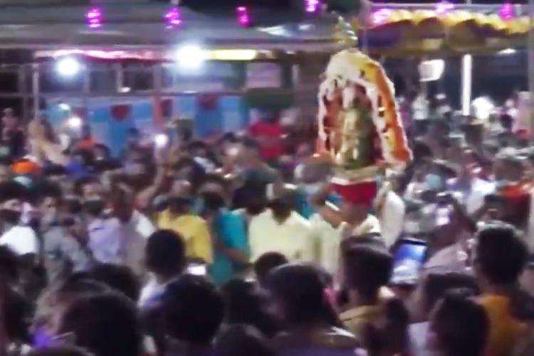 Large crowd seen taking part in Brahmakalashotsava at Someshwara temple in Mangaluru