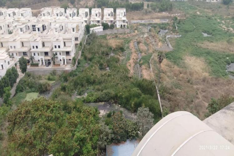 Aerial view of Manjeera Diamond Tower at Nallagandla under the Serilingampally mandal in Hyderabad