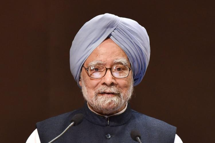 Former Prime Minister Manmohan Singh wearing his signature blue turban