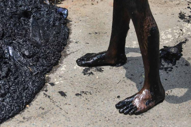 A man involved in manual scavenging