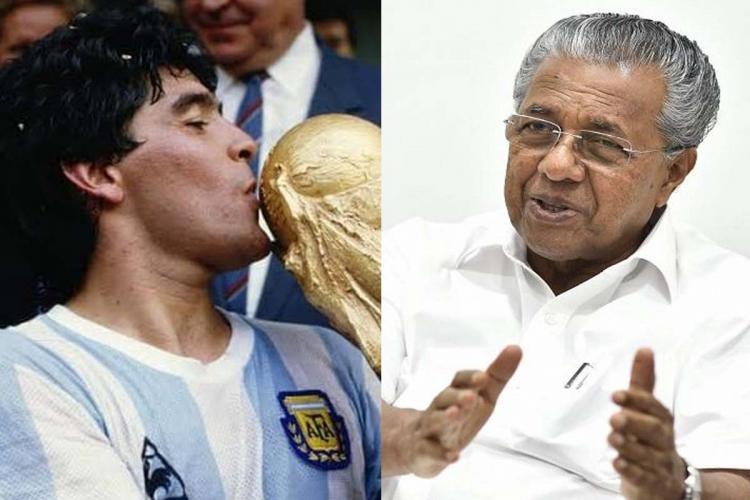 Collage of Diego Maradona and Kerala CM Pinarayi Vijayan