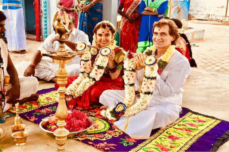 American author of Chicken Soup renews wedding vows with husband at temple near Madurai