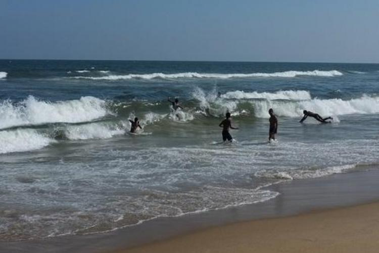 Children playing in Marina beach
