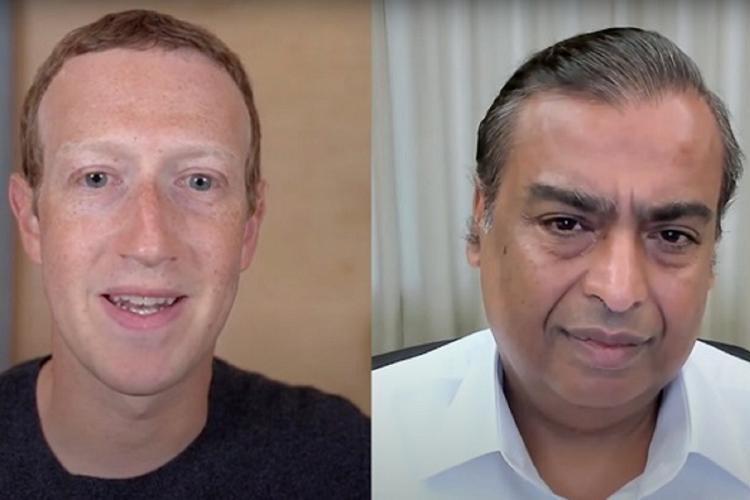 A collage of Mark Zuckerberg and Mukesh Ambani having a conversation