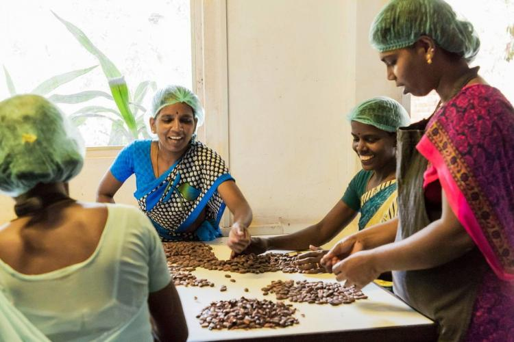 An all-womens team led by Saraswathi Murthy makes chocolates at Mason Co in Auroville Puducherry