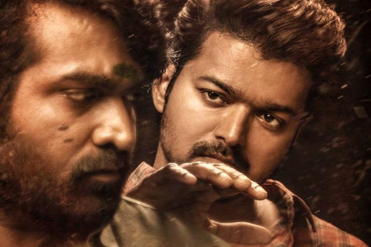 Close-up of actors Vijay Sethupathi and Vijay in a still from the Tamil film Master