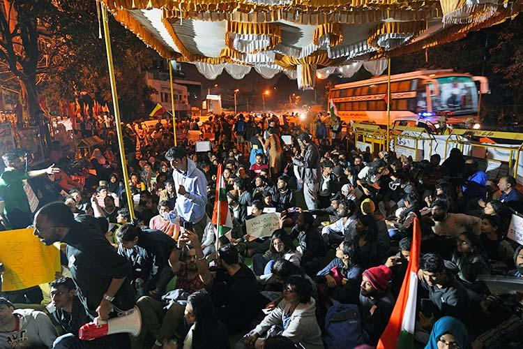 Bengalurus Maurya Circle turns into all-night protest site against violence at JNU