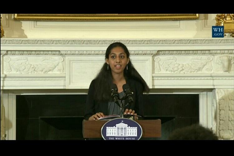 Ma I havent spoken Tamil in three years Indian-American students poem at White House