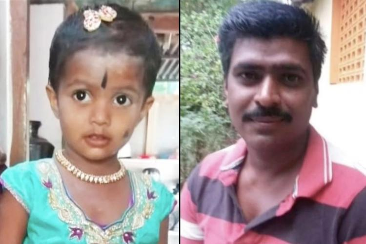 Collage of Anandkumar and his daughter from Mayiladuthura