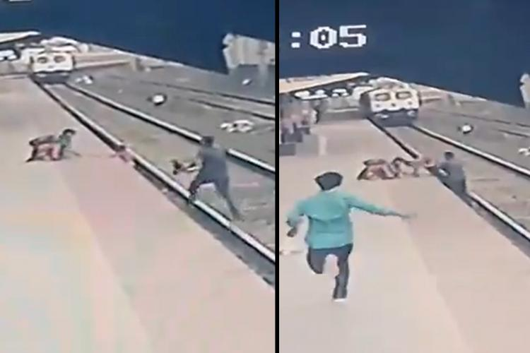Screengrab from the CCTV footage of Maharashtra railway pointsman saving the life of the boy