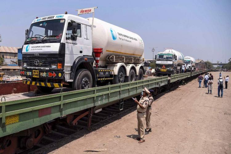 Liquid Medical Oxygen tanker for treatment of Covid-19 patients onboard a wagon at Kalamboli Goods Yard in Navi Mumbai