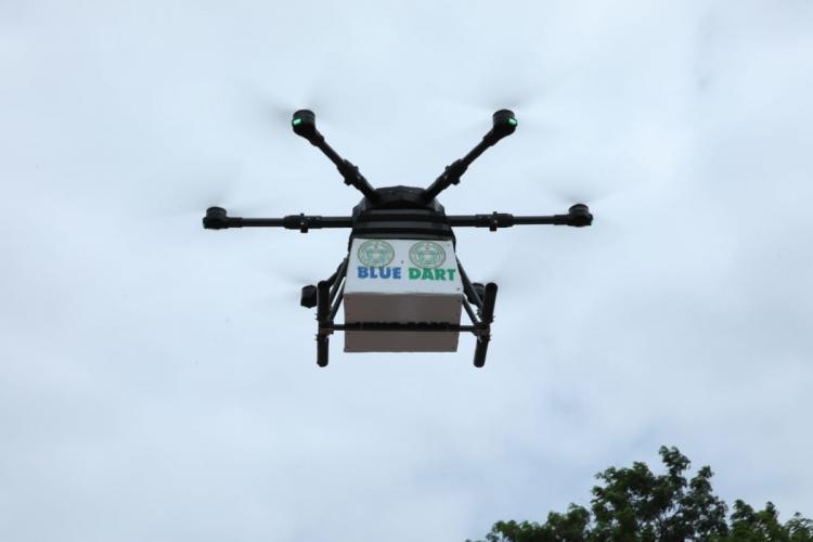 Blue dart drone delivering medicines in Telangana