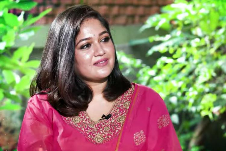 Actor Meghana Raj in a screengrab from her interview.