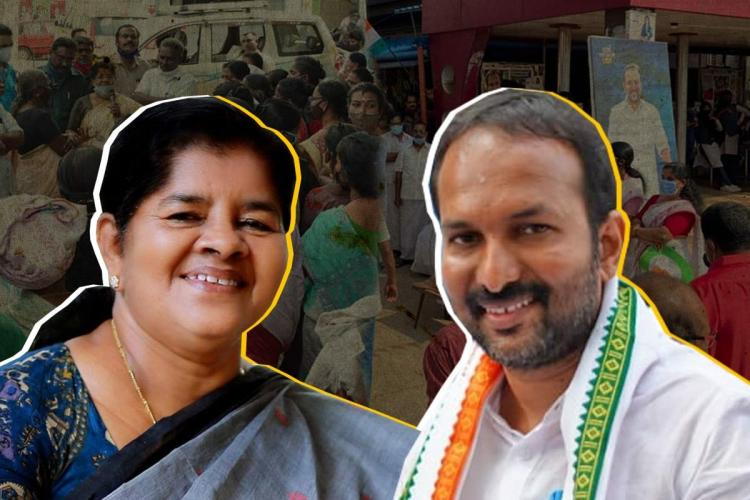 Stylised collage of J Mercykutty Amma CPI M and PC Vishnunath Congress candidate for Kerala 2021 Assembly Polls from Kundara