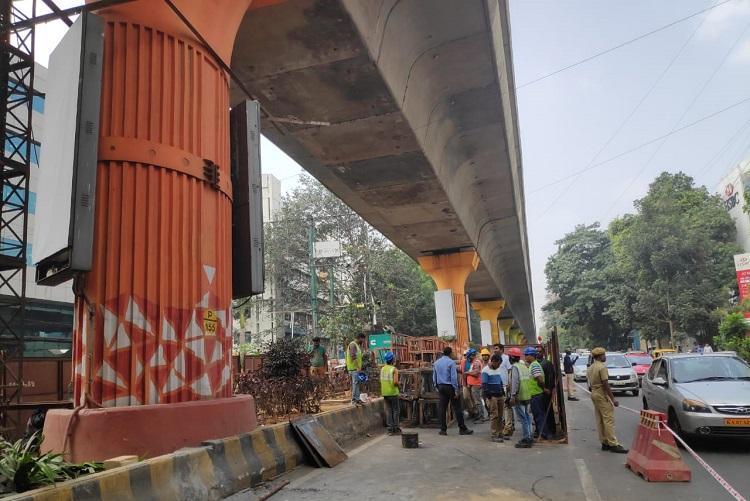 Repair works on Bengaluru Metro near Trinity station purple trains face delay