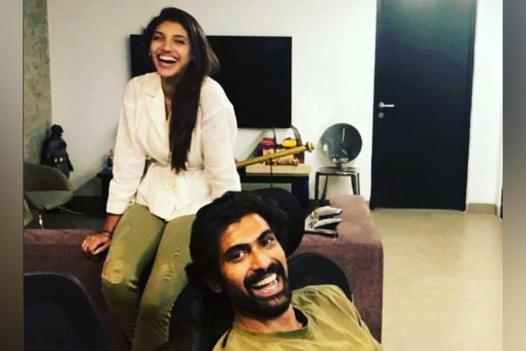Actor Rana Daggubati with fiancee Miheeka Bajaj in drawing room