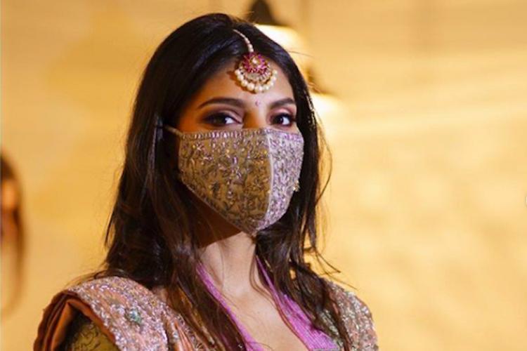 Miheeka Bajaj in an embroidered mask at pre wedding celebrations