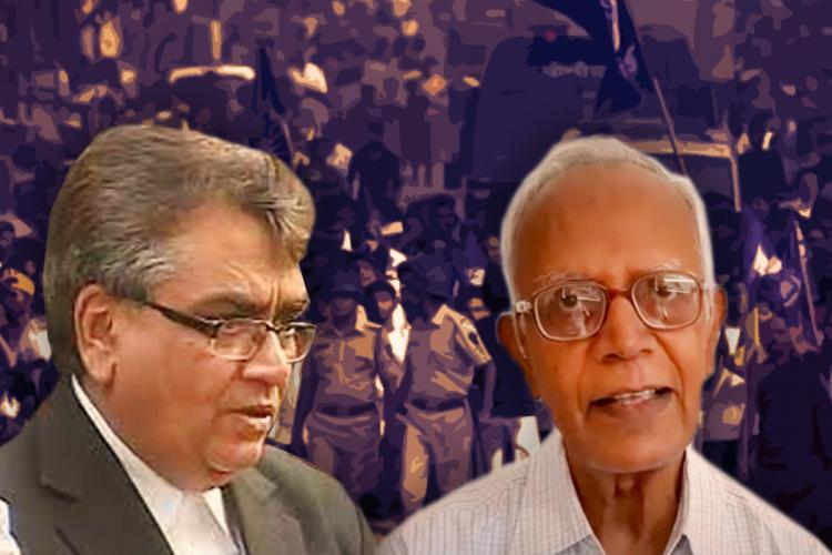 A picture of lawyer Mihir Desai on the left and father Stan Swamy on the right