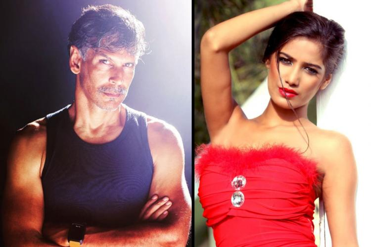 Milind Soman in a tank top Poonam Pandey in red dress