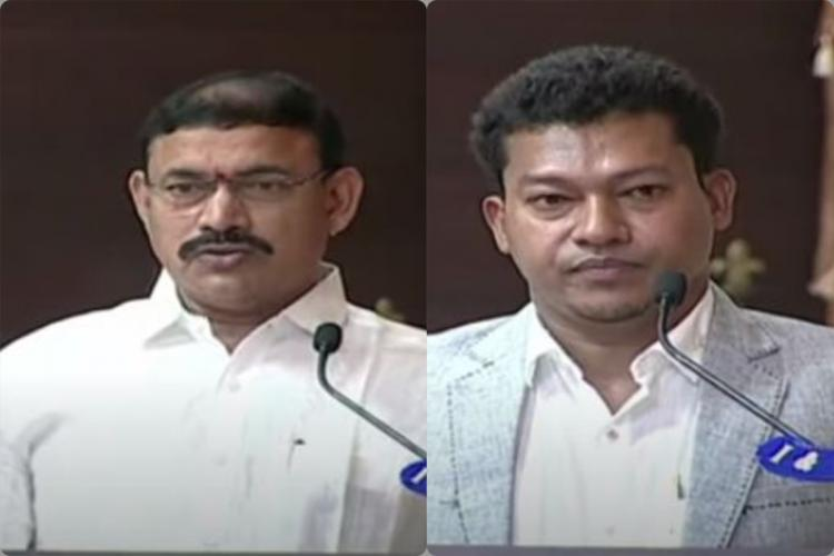 Ramachandrapuram MLA Ch Venugopala Krishna and Palasa MLA Dr Sidiri Appala Raju taking oath as Ministers