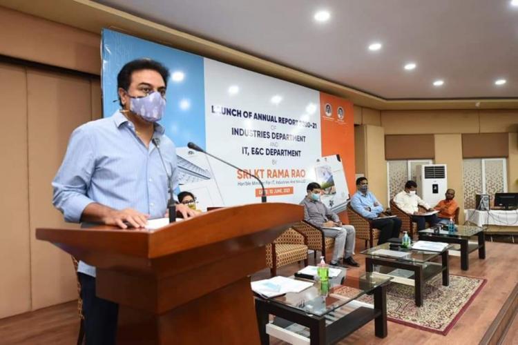 Minister KTR addressing the event