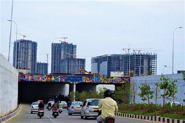 The Raheja Mindspace underpass in the IT sector of Hyderabad