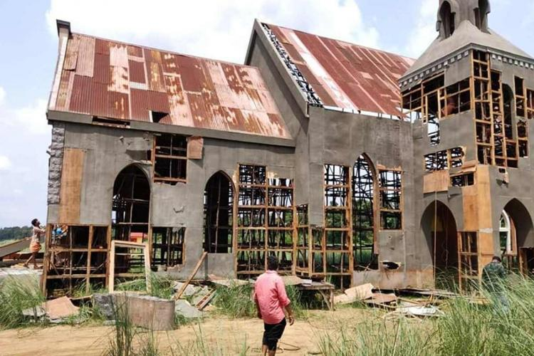 Hindu right wing groups destroy church film set of Tovino movie in Kalady