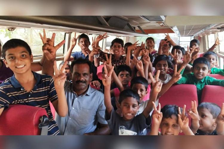 Shivaji with 23 kids of Miracle Manna Childrens Home in happier times